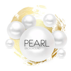 Luxury white pearl on gold background