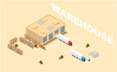 Warehouse, storage, logistics isometric icons set with storehouse, truck, forklift.