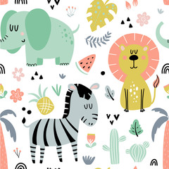 Fototapete - Seamless pattern with african animals
