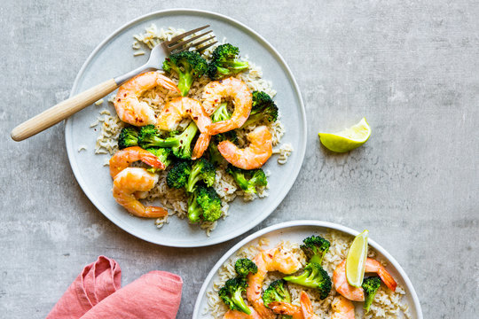 Shrimp with broccoli and rice