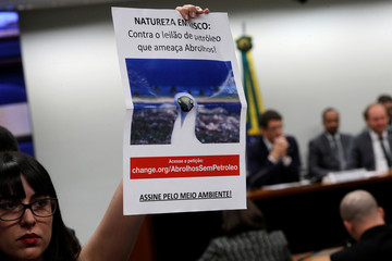 Activists demonstrate agains the Brazil's Environment Minister Ricardo Salles during a session of the Environment and Sustainable Development Committee of the Chamber of Deputies in Brasilia