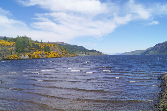 Loch Ness in the Scottish highlands seen from Fort Augustus