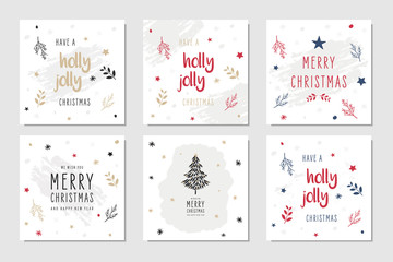 Wall Mural - Christmas square winter holiday greeting cards set with ornaments.