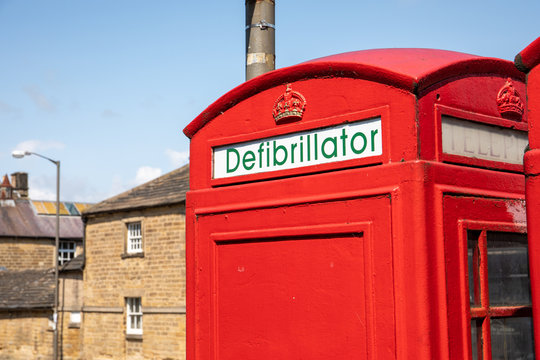 Phone booth defibrillator in Bakewell, England