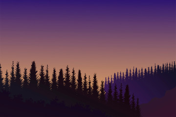 Foto op Aluminium Violet Evening mountain landscape with trees. Vector background