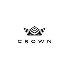 crown logo vector icon illustration line stripes style