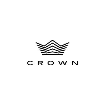 crown logo vector icon illustration line stripes style