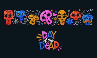 Poster Crâne aquarelle Day of the dead card colorful watercolor skull art