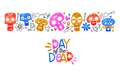 Poster Crâne aquarelle Day of dead card cute watercolor skull cartoon