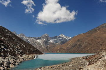 Nepal. Himalayan mountains. Snowy peaks of the Himalayas. Alpine glacial lakes. Snowy mountain peaks against the blue sky.