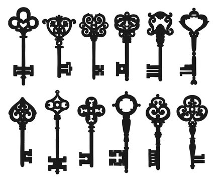 Vintage isolated black key silhouettes