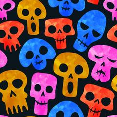 Foto op Canvas Aquarel Schedel Funny watercolor skeleton skull seamless pattern