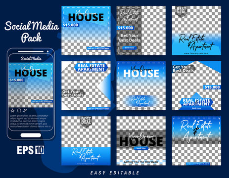 Set of Social Media Post Template for Real Estate and Apartment Promotion