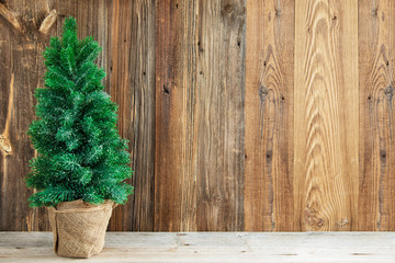 Wooden Backrground With Christmas Tree. Rustic Texture With Copy Space