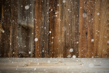 Brown Wooden Vintage Or Rustic Backround Or Texture With Snow. Copy Space For Your Free Text Here.