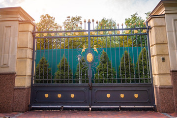 Massive wrought iron gates. Gate closed
