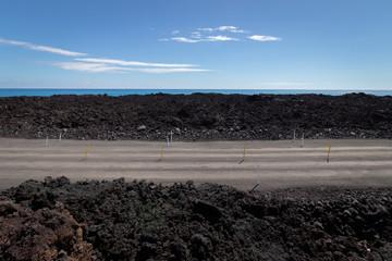 The Temporary Lava Crossing Road To Isaac Hale Beach Park, Big Island Of Hawaii, USA