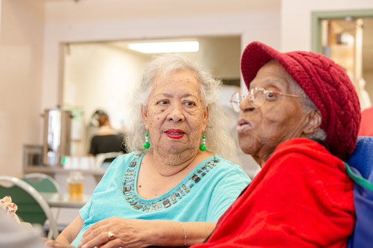 Two Older Woman Together at a Senior Center