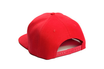 red baseball cap or Working peaked cap. Isolated on a white background.