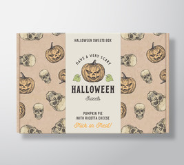 Halloween Sweets Pattern Realistic Cardboard Box with Banner. Abstract Vector Packaging Design or Label. Hand Drawn Witch Pumpkins and Sculls Sketches. Craft Paper Background Layout.