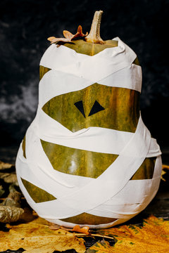 Zombie pumpkins in bandages, on a dark background. The concept of Halloween