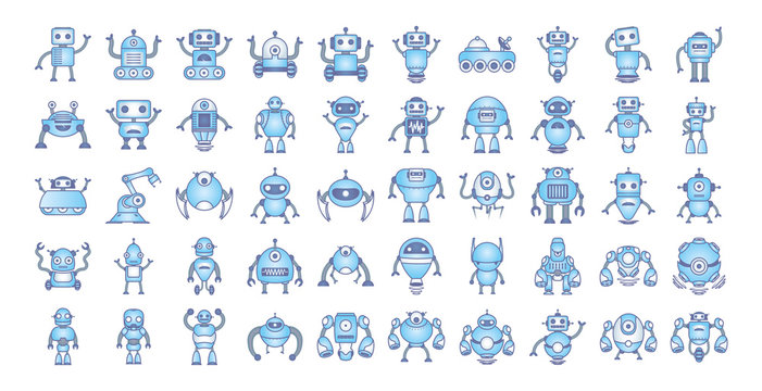 bundle of robots cyborg set icons