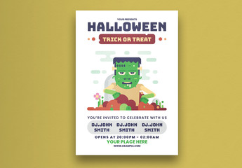 Halloween Party Flyer Layout With Green Zombie Illustration