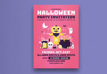 Halloween Party Flyer Layout With Pink Background