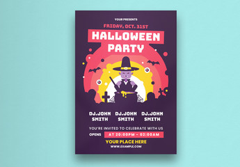 Halloween Party Flyer Layout With Witch Illustration