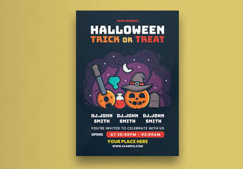 Party Flyer Layout With Halloween Illustration