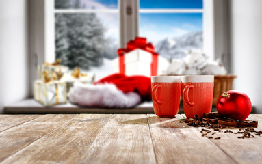Christmas background of window sill and free space for your decoration.