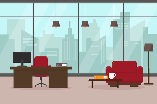 Modern living room or office with big window and furniture. Workplace in big modern city. Interior vector illustration.