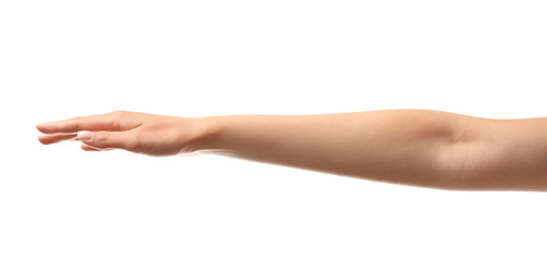 Young woman holding her hand on white background, closeup