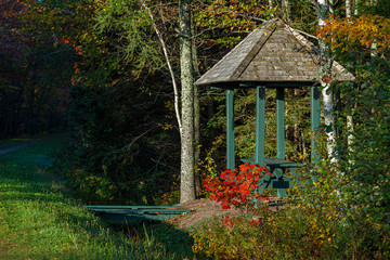 Trail shelter with a picnic table along the Confederation Trail (or Trans Canada Trail) on Prince Edward Island, Canada.