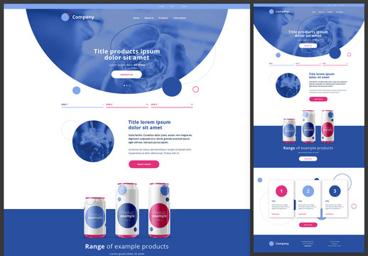 Product Page Website Design Layout with Blue and Pink Accents