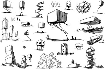 many hand drawn architectectural sketches of modern abstract architecture and urban ideas and drafts