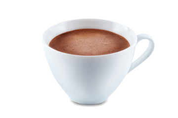 Foto auf Acrylglas Schokolade Dark hot chocolate drink on a white isolated background