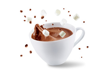 Photo sur Toile Chocolat Dark hot chocolate drink on a white isolated background