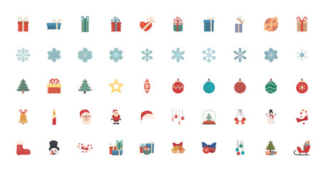 bundle of merry christmas with set icons