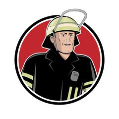 firefighter sign vector illustration in retro cartoon style