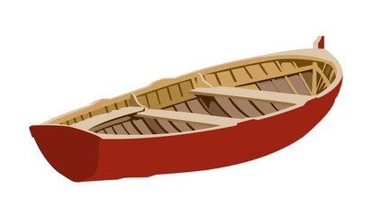 boat red realistic vector illustration