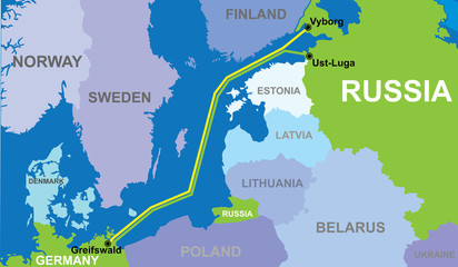 map of Nord stream 2 vector