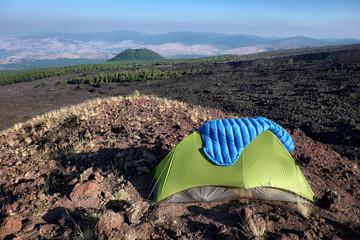 Tent And Volcanic Landscape In Etna Park, Sicily