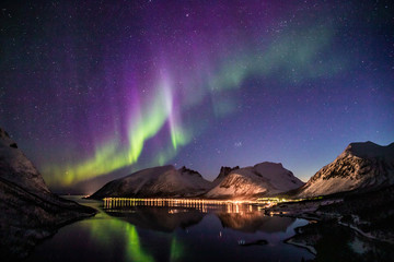 Foto op Aluminium Noorderlicht aurora borealis in norway