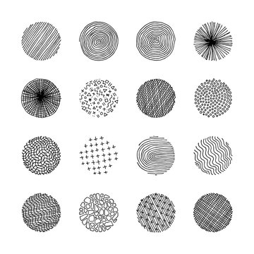 Artistic set of handcrafted design circle elements. Wavy line textures, paint dabs