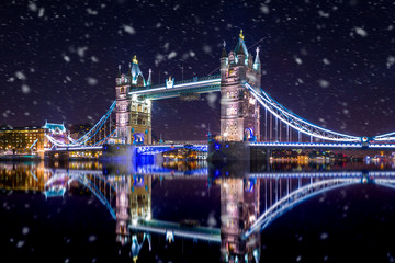 Garden Poster London Tower Bridge in London by night ,during a snowstorm