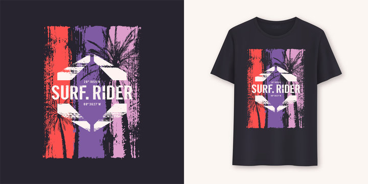 Surfrider stylish graphic tee vector design, print