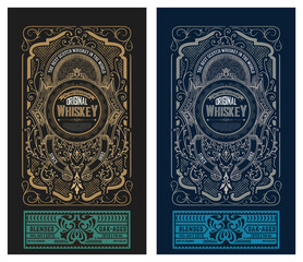 Viintage label design. Ornate logo template for tequila, whiskey, spirituous drinks label.