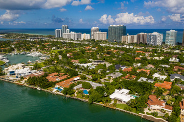 Wall Mural - Aerial photo luxury homes Bal Harbour Florida USA