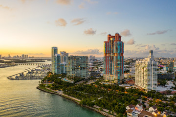 Wall Mural - Aerial photo of the Southernmost point of Miami Beach Florida park scene and highrise condominiums